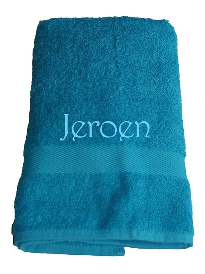 Afbeelding van Handdoek Turquoise geborduurd met Naam