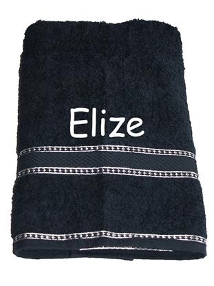Afbeeldingen van Handdoek Zwart geborduurd met Naam
