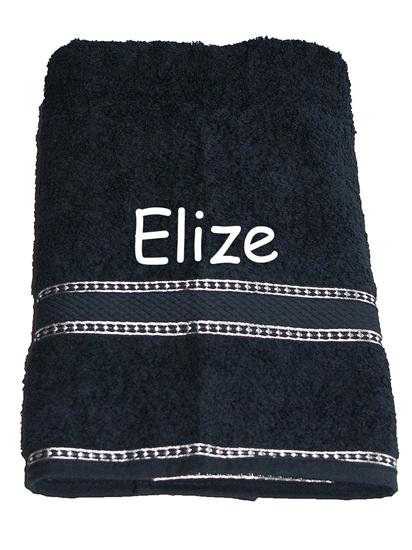 Afbeelding van Handdoek Zwart geborduurd met Naam