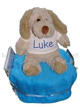 Afbeeldingen van Luiertaart kleine knuffel hond geborduurd met Naam