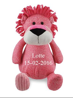 Afbeeldingen van Zippies Leeuw roze geborduurd met Naam