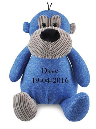Afbeeldingen van Zippies aap blauw geborduurd met Naam