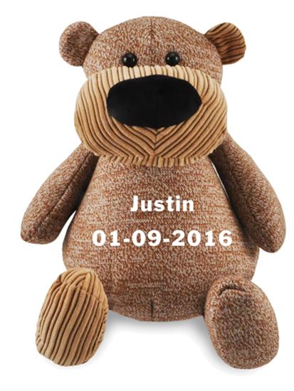 Afbeelding van Zippies beer bruin geborduurd met Naam