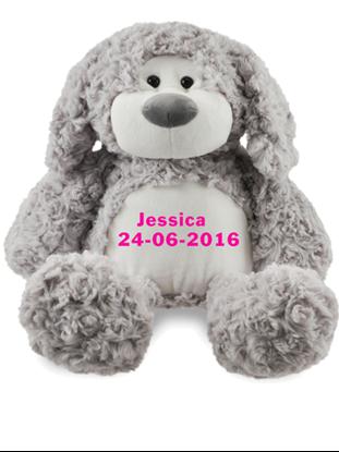 Afbeeldingen van Zippies Hond grijs geborduurd met Naam