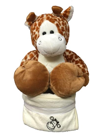 Afbeelding van Luiertaart giraf met badcape