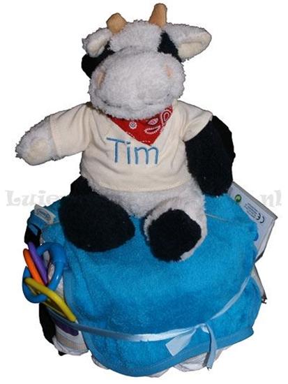 Afbeelding van Luiertaart kleine knuffel koe geborduurd met Naam