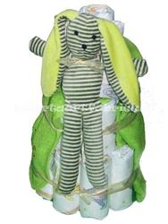 Afbeelding van Luiertaart Konijn groen met naam
