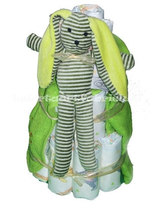 Afbeeldingen van Luiertaart Konijn groen met naam