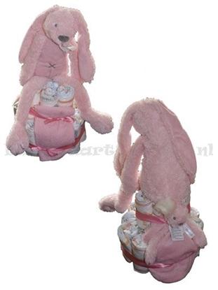 Afbeeldingen van Luiertaart konijn roze Happy Horse