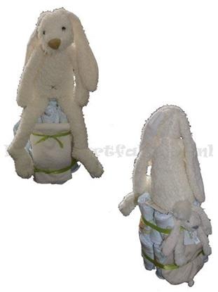 Afbeeldingen van Luiertaart konijn creme Happy Horse