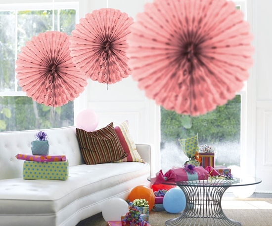 Afbeelding van Babyshower honeycomb fan roze