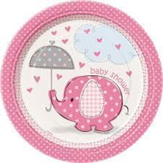 Afbeelding van Babyshower bordjes klein olifant roze