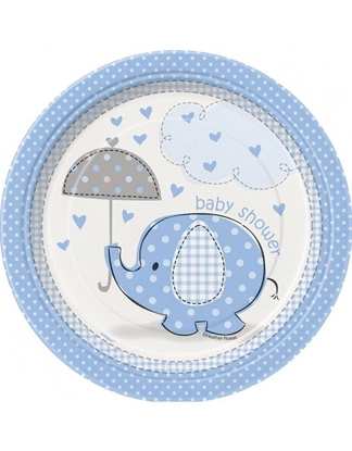 Afbeeldingen van Babyshower bordjes klein olifant blauw