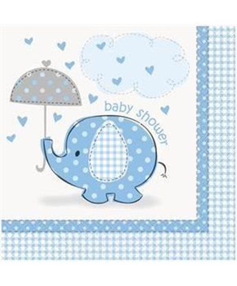 Afbeeldingen van Babyshower servetten Olifant Blauw
