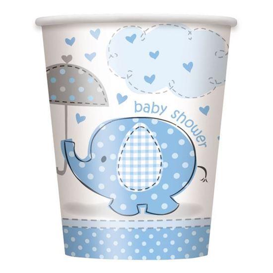 Afbeelding van Babyshower bekertjes Olifant Blauw