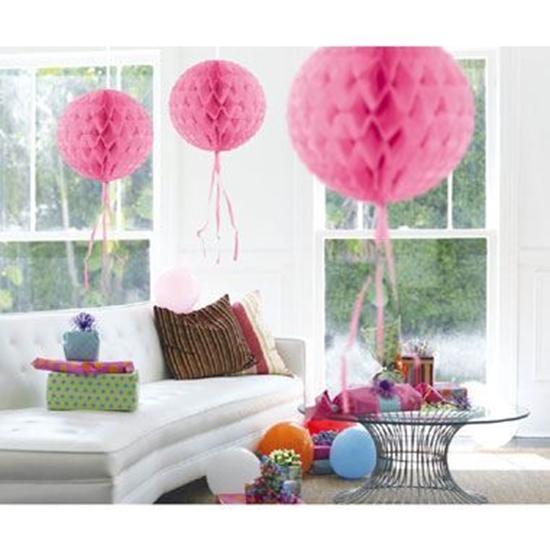 Afbeelding van Babyshower honeycomb rond roze