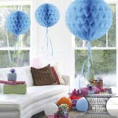 Afbeeldingen van Babyshower honeycomb rond blauw