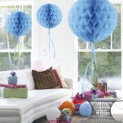 Afbeeldingen van Babyshower honeycomb rond blauw