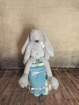 Afbeeldingen van Luiertaart konijn blauw Happy Horse