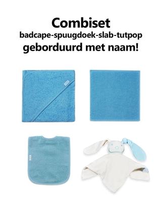 Afbeeldingen van Combipakket slab-spuugdoek-badcape-tutpop met naam