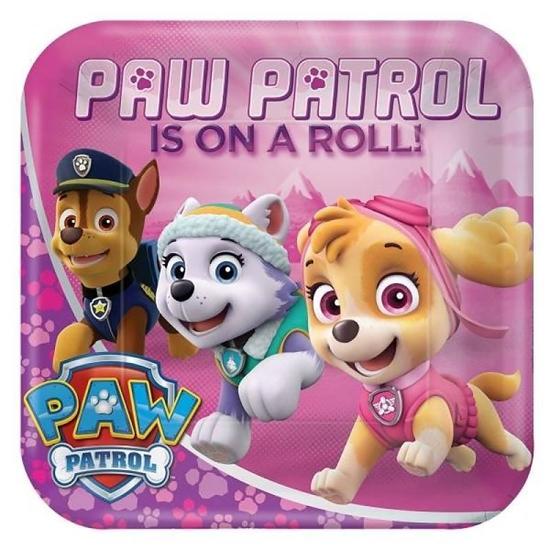 Afbeelding van Bordjes Paw Patrol roze vierkant klein