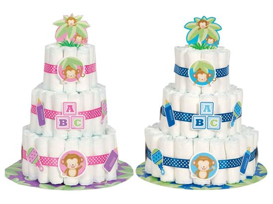 Afbeelding van Luiertaart met Diaper cake kit