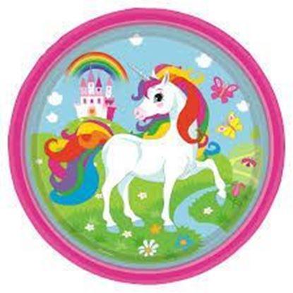 Afbeeldingen van Unicorn bordjes groot 8 stuks