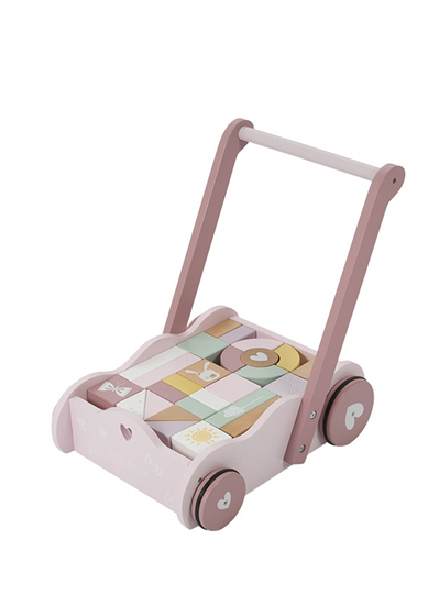 Afbeelding van Little Dutch houten blokkenkar roze