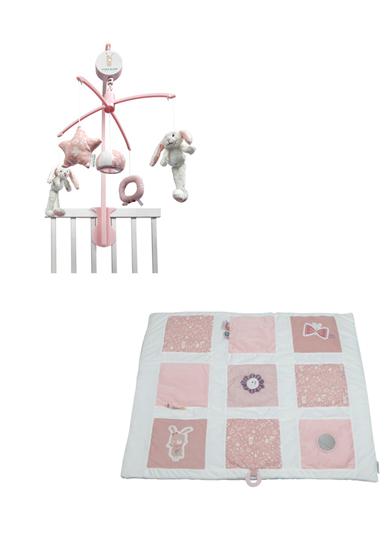 Afbeelding van Little Dutch combipakket boxkleed/muziekmobiel roze
