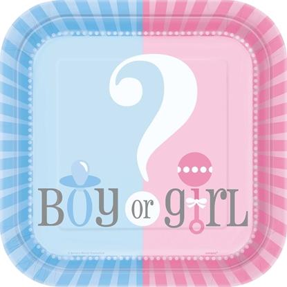 Afbeeldingen van Boy/girl bordjes 23cm babyshower
