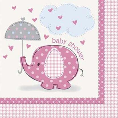 Afbeeldingen van Babyshower servetten Olifant roze