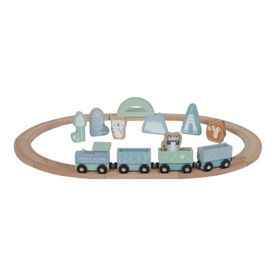 Afbeelding van Little Dutch houten treinbaan blauw