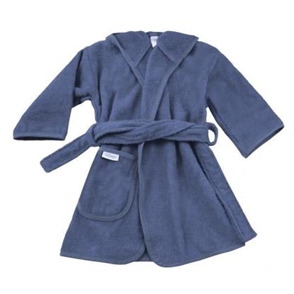 Afbeeldingen van Badjas Silk Blue 1-2 jaar geborduurd met Naam
