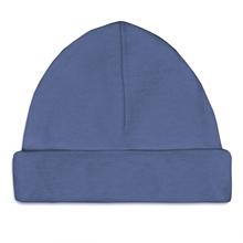 Afbeelding van Babymuts Silk blue bedrukt met naam