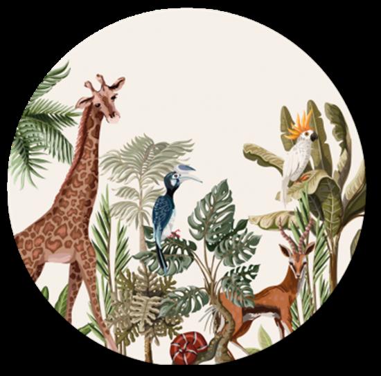 Afbeelding van Muurcirkel Jungle Giraf