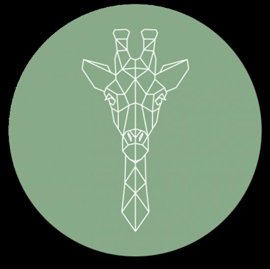 Afbeelding van Muurcirkel Geometrische Giraf Oud Groen