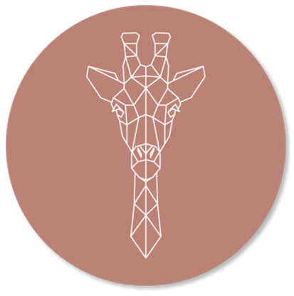 Afbeeldingen van Muurcirkel Geometrische Giraf Oud Roze