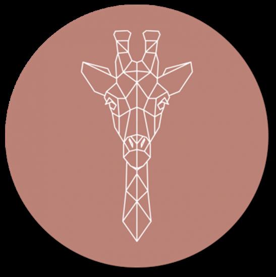 Afbeelding van Muurcirkel Geometrische Giraf Oud Roze