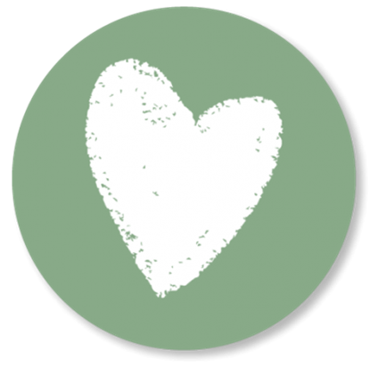 Afbeeldingen van Muurcirkel Wit Hart Oud Groen