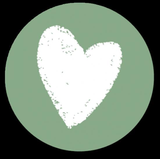 Afbeelding van Muurcirkel Wit Hart Oud Groen