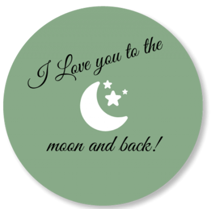 Afbeeldingen van Muurcirkel To the Moon and Back Oud Groen