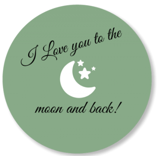 Afbeelding van Muurcirkel To the Moon and Back Oud Groen
