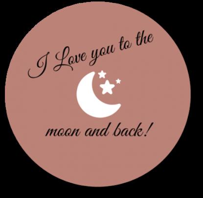 Afbeeldingen van Muurcirkel To the Moon and Back Oud Roze