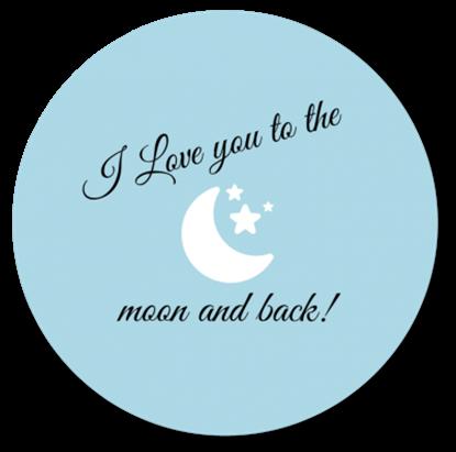 Afbeeldingen van Muurcirkel To the Moon and Back Baby Blauw
