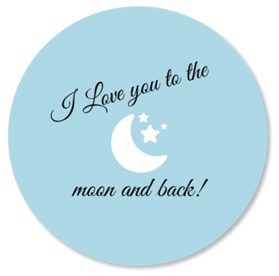 Afbeelding van Muurcirkel To the Moon and Back Baby Blauw