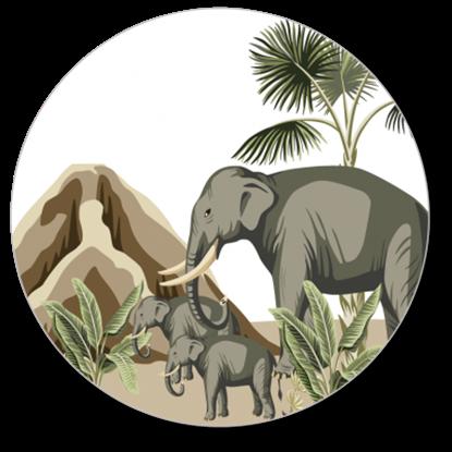 Afbeeldingen van Muurcirkel Olifantjes