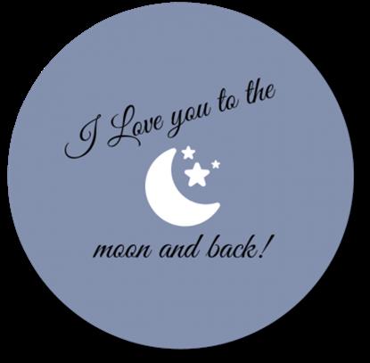 Afbeeldingen van Muurcirkel To the Moon and Back Blauw