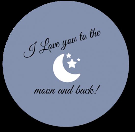 Afbeelding van Muurcirkel To the Moon and Back Blauw