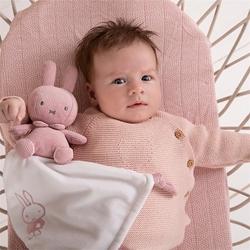 Afbeelding van Knuffeldoekje Nijntje Pink Baby Rib met Naam
