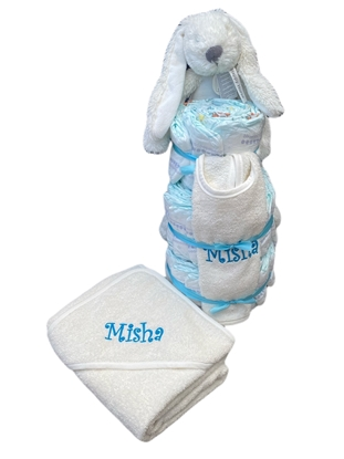 Afbeeldingen van Luiertaart konijn ecru Deluxe met Naam